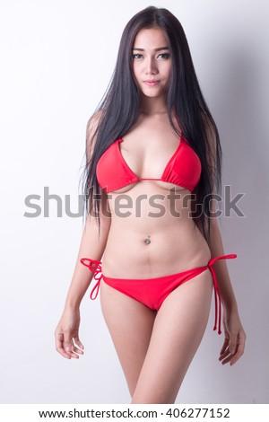 Beautiful slim body of woman in studio, - stock photo
