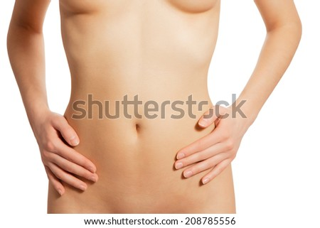 Beautiful slim female body. Woman's shape with clean healthy skin, flat stomach. - stock photo