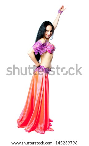 beautiful slim lady, professional belly dancer on white background