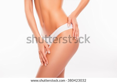 Beautiful slim woman body isolated on white background