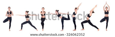 beautiful slim woman in different yoga poses isolated on white background