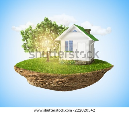 Beautiful small island with grass and tree and house levitating in the sky. - stock photo
