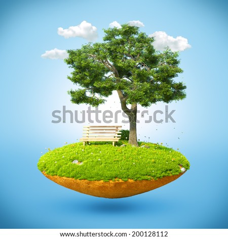 Beautiful small island with grass and tree  levitating in the sky. - stock photo