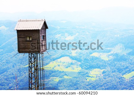 Beautiful small wood house in the Alps in Slovenia - stock photo