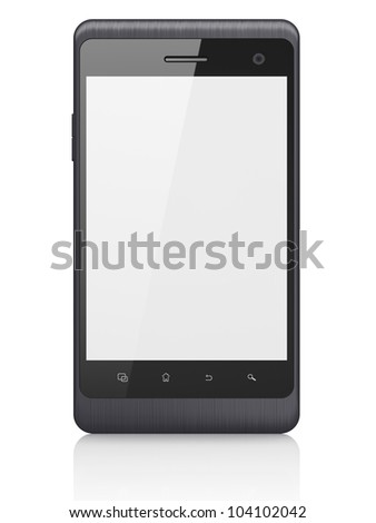 Beautiful smartphone on white background. Generic mobile smart phone, 3d render
