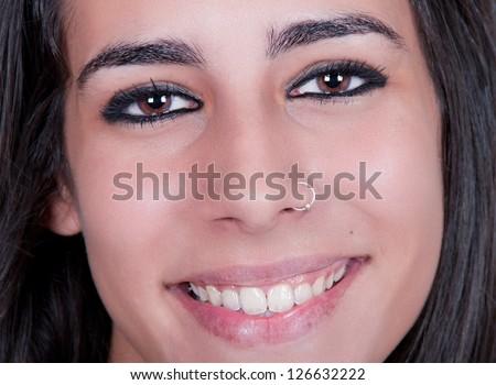 beautiful smile brunette woman - stock photo