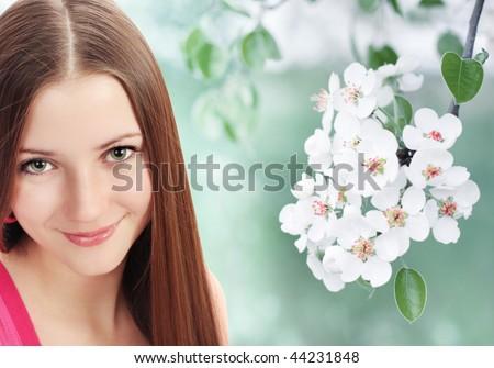 beautiful smile girl in spring garden - stock photo