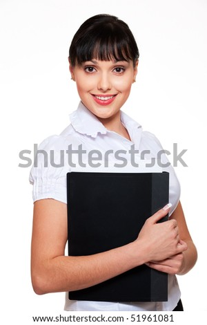 beautiful smiley woman in white blouse holding folder with papers - stock photo