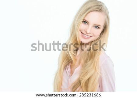 Beautiful smiling blonde - stock photo