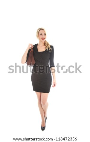 Beautiful smiling blonde woman with brown purse and black dress isolated on white background
