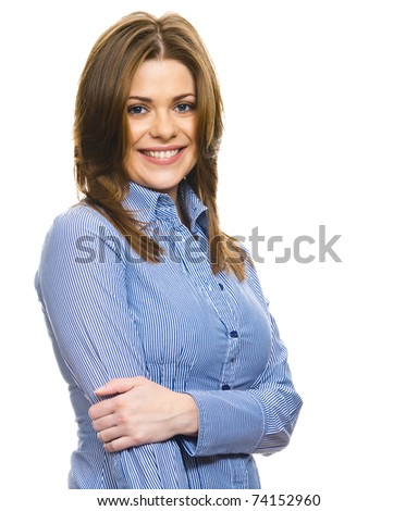 Beautiful smiling business woman closeup portrait, free space on the image. Copyspace, copy-space on white