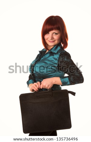 Beautiful smiling business woman holding black briefcase for documents isolated on white background - stock photo