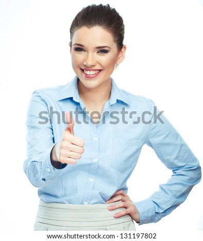Beautiful smiling business woman standing against white background. Thumb up. - stock photo