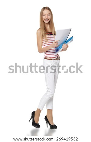 Beautiful smiling business woman, with documents, isolated on a white background
