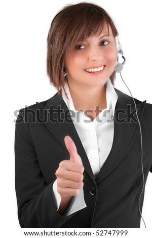 Beautiful smiling call center girl points up her thumb and smiles - stock photo