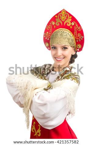 beautiful  smiling caucasian girl in russian folk costume, - stock photo