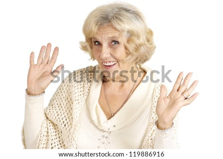 Beautiful smiling charming cute amaze elderly woman on a white background