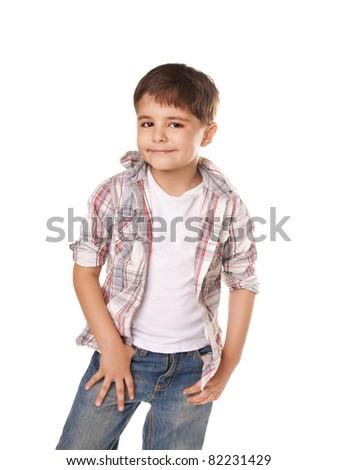 Beautiful smiling charming little boy isolated on white background - stock photo