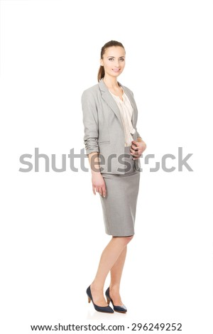 Beautiful smiling confident businesswoman in suit.