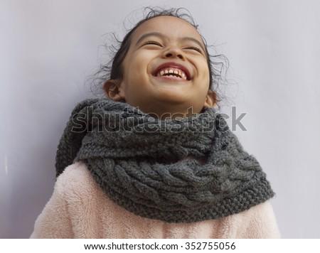 Beautiful smiling cute little  girl - stock photo