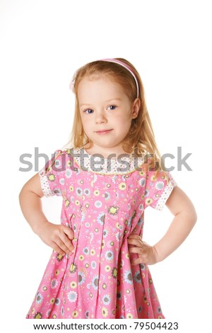 Beautiful smiling cute little girl isolated on white background