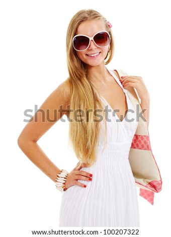 Beautiful smiling girl in white dress with beach bag and big sun glasses. Isolated on white background, mask included - stock photo