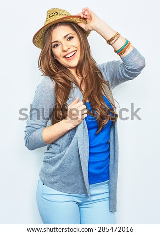 Beautiful smiling girl portrait, positive emotion. Smile with teeth. Studio isolated portrait.Female model with long hair. - stock photo