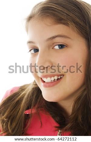 Beautiful Smiling Girl, studio shoot - stock photo