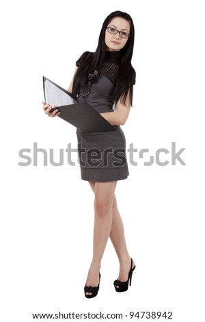 Beautiful smiling girl with a folder - stock photo