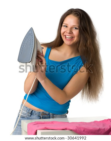 beautiful smiling girl with long hair holds an iron in a hand, isolated on white