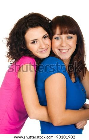 Beautiful smiling girls on white background - stock photo