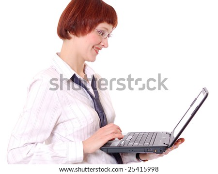 Beautiful smiling secretary with the laptop.