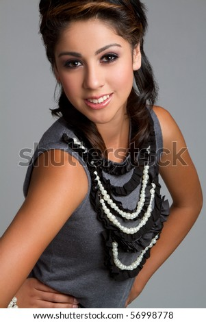 Beautiful smiling teen fashion girl - stock photo