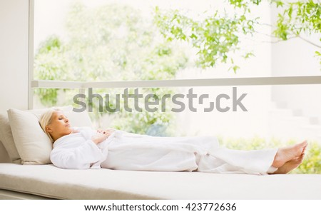 Beautiful Smiling Woman Enjoying After Spa Treatment