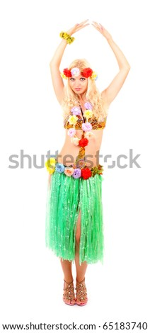 Beautiful smiling woman in Hawaii style isolated on white