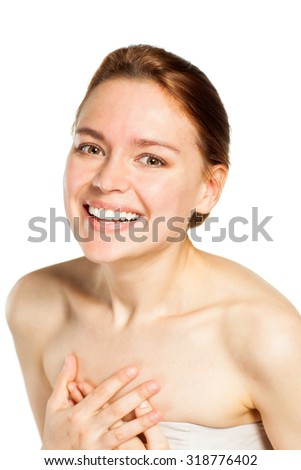 Beautiful smiling woman portrait on white background - stock photo