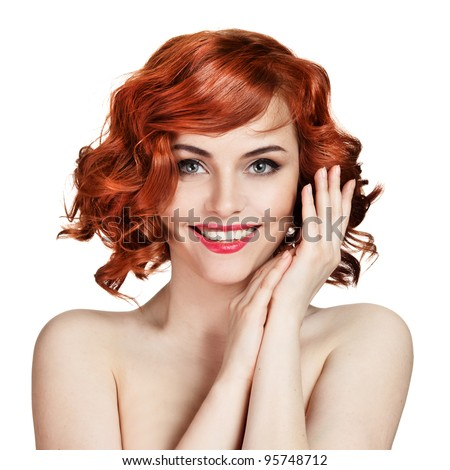 Beautiful smiling woman portrait on white background - stock photo