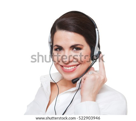 Beautiful smiling  woman using a headset, looking at camera. White background.