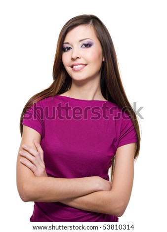 Beautiful smiling woman with beauty long straight brown hairs - over white background - stock photo