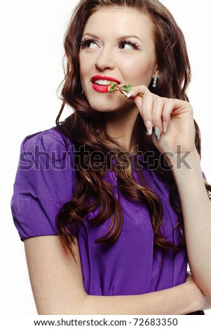 Beautiful smiling woman with berries on white background - stock photo