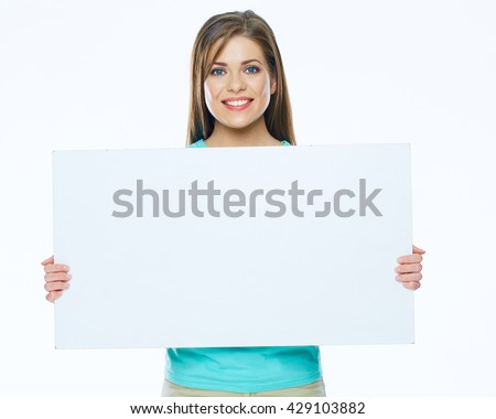 Beautiful smiling woman with big white board. Isolated on white. Young woman with long hair.