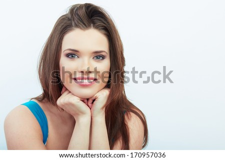 Beautiful smiling woman with long brown hair, isolated white background portrait.