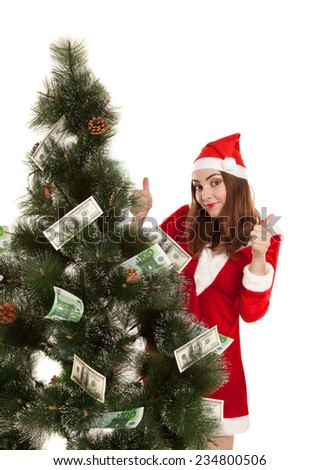 Beautiful smiling woman with money fir tree - stock photo