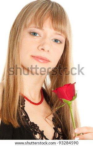 Beautiful smiling woman with red rose isolated on white - stock photo