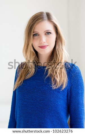 beautiful smiling young attractive woman portrait - stock photo