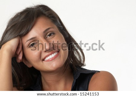 Beautiful smiling young woman on white background - stock photo