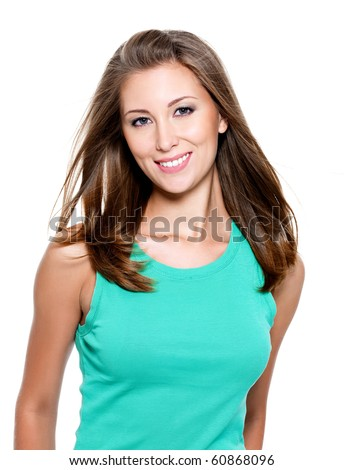 Beautiful smiling young woman with long straight hair - stock photo