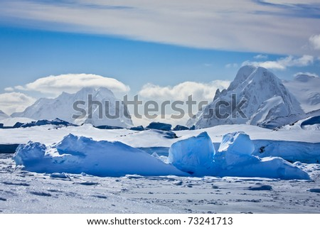 Beautiful snow-capped mountains in Antarctica