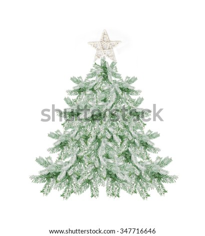beautiful snow-covered Christmas tree with a star isolated on white.