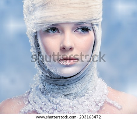 Beautiful snow queen - stock photo